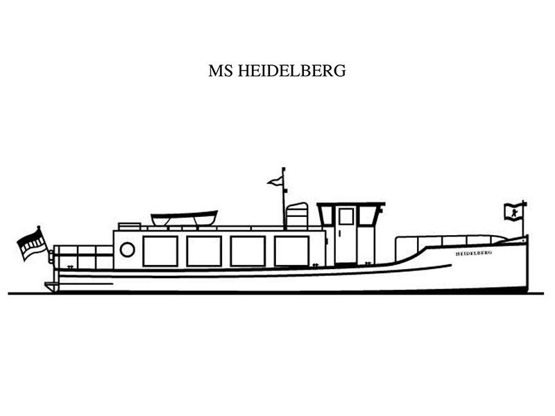 Ausmalbild der MS Heidelberg | Partyboot Berlin